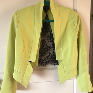 H&M yellow crop jacket with black lace detail